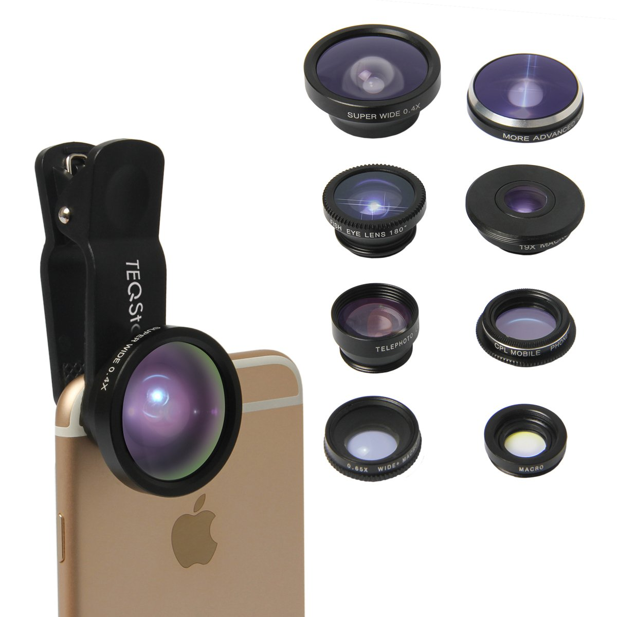 TEQSTONE 8-in-1 Clip-On Cell Phone Camera Lens Kit, 1 x 0.65X Macro& Wide Lens+ Fisheye Lens 180°+ Telephoto Lens 2X+ CPL Lens + Super Fisheye Lens 235°& 19X Macro Lens+ 0.4X Super Wide Angle Lens
