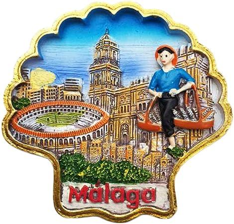 3D Málaga España Imán de Nevera Estilo de Shell Etiqueta de Viaje Souvenir, Hogar y Cocina Decoración, España Refrigerador Imán: Amazon.es: Hogar
