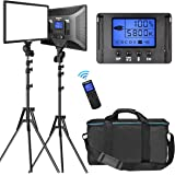 "LED Video Lighting Kit with Wireless Remote, Dazzne D50(2 Packs) Dimmable Bi-Color 15.4"" LED Panel Light Stand, 45W…"