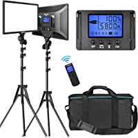 """LED Video Lighting Kit with Wireless Remote, Dazzne D50(2 Packs) Dimmable Bi-Color 15.4"""" LED Panel Light Stand, 45W…"""