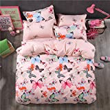 Fashion Animal Design Duvet Cover Set Beddingset Without Comforter 4pcs/set Duvet Cover Flat Sheet Pillowcase ZL Twin Full Queen Best Gifts for Livingroom (Twin, Dance Butterfly, Pink)