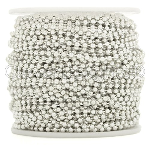 CleverDelights Ball Chain Roll - 30 Feet - Shiny Silver Color - 2.4mm Ball - #3 Size (Light Pendant 3 Tile)
