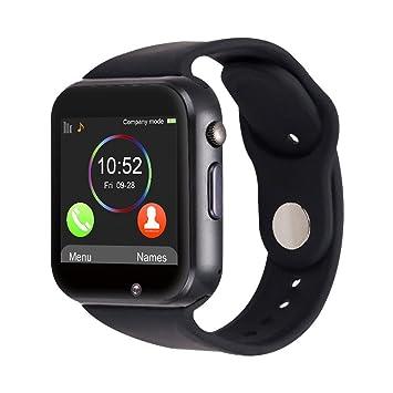 SmartWatch A1 Antracita - Teléfono con SIM - Pantalla táctil - Reloj inteligente SIM teléfono móvil Bluetooth Micro SD Phone: Amazon.es: Electrónica