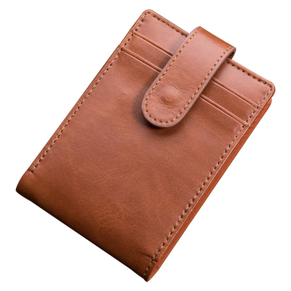 Yamalans Retro Faux Leather Cash Cards Holder Mens Short Bifold Wallet Purse Gift Brown