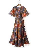 Paule Trevelyan NEW sweet moda feminina longo dress impressão de manga curta vestidos maxi dress irregular