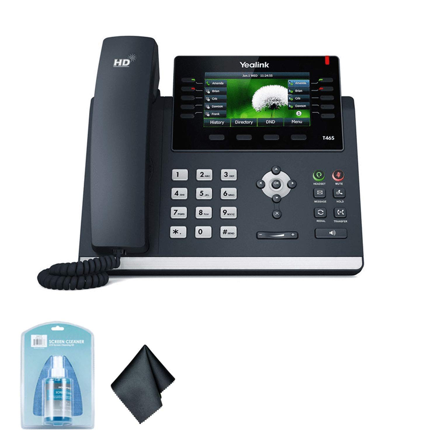 Yealink SIP-T46S IP Office Desk Phone | 4.3-Inch Color Display| Dual-Port Gigabit Ethernet | 802.3af PoE | Power Adapter Not Included -6AVE Bundle by Yealink