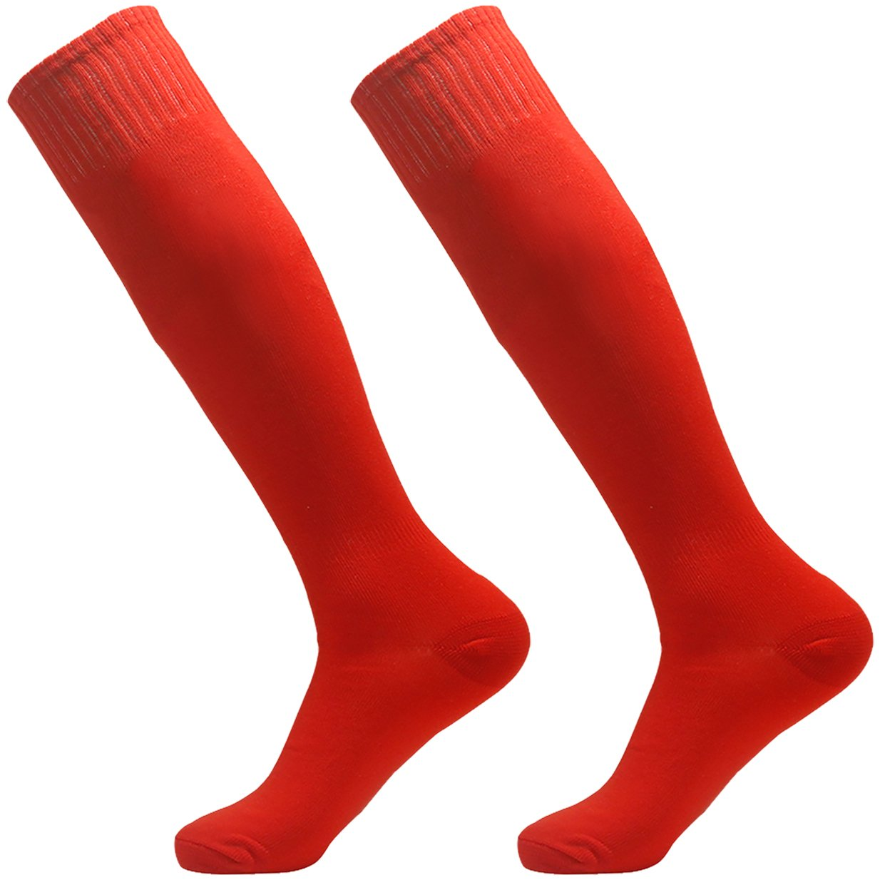 Soccer Socks Red, 3street Unisex Winter Thick Cushioned Solid Over Knee Comfort Football Rugby Softball Compression Socks Dance Group School Sport Team Red 2-Pairs