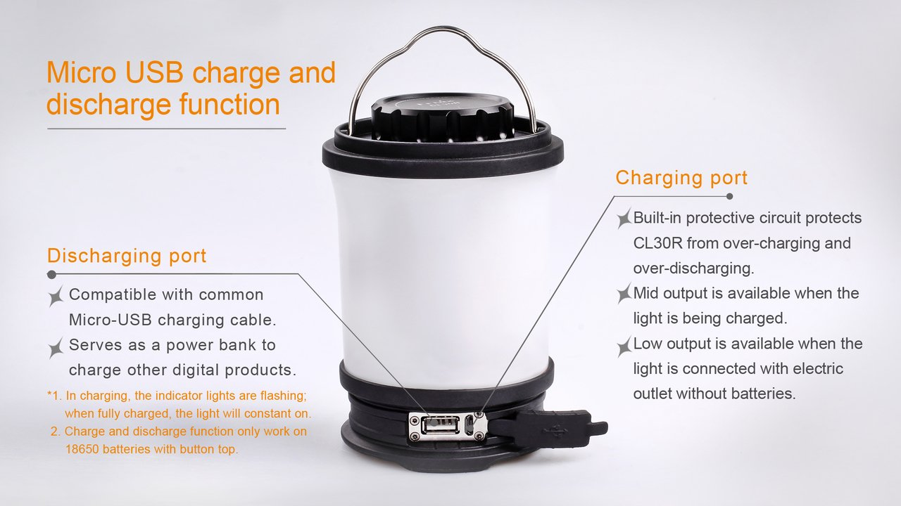 Fenix CL30R LED Camping Lantern 650 Lumen with 3 X 18650 rechargeable batteries and LegionArms USB charging cord by Fenix (Image #3)