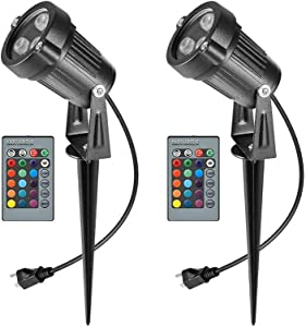 RGB Outdoor Spotlight Led Lawn Flood Light Stake, 2 Pack 6W Outdoor Color Changing Landscape Lighting Fixture, Waterproof Ac Electric Landscaping Spot Light for Yard Garden Driveway Pathway Home