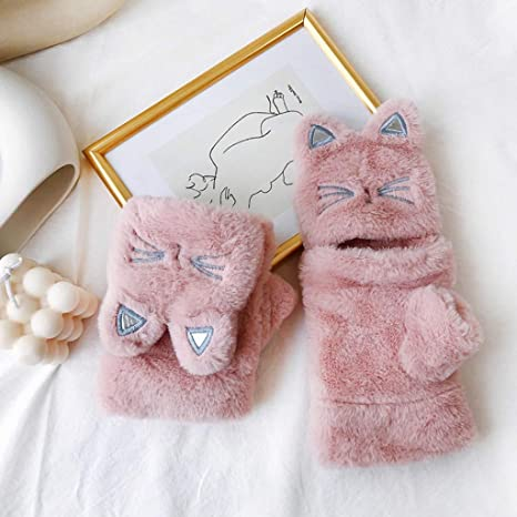 Jinjin Women Fingerless Mitten Gloves with Lovely Warm Flip Over Thickening Cat Plush Gloves Soft Hand Feeling No Any Harm to Skin White
