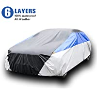 KAMCHAU 6 Layers Waterproof Car Cover,All Weather for Automobiles UV Protection Snowproof Outdoor Full Cover with Cotton…