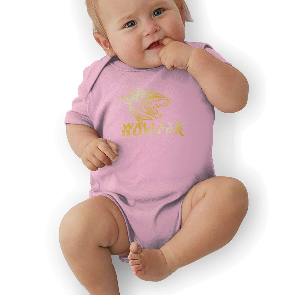 Newborn Baby Boys Bodysuit Short-Sleeve Onesie Walleye Hunter Print Jumpsuit Autumn Pajamas