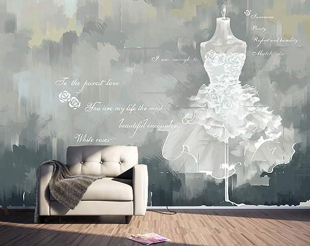 . Amazon com  Murwall Watercolor Wallpaper Wedding Dress Wall Mural