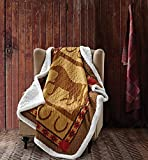 Duke Imports Horseshoe Quilt Throw with Sherpa Backing Country Western Ranch Lodge Cabin with Southwest Aztec Accents
