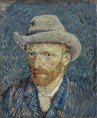 Canvas Art Print Reproduction Unmounted - 50X60 cm (Approx. 20X24 inch) Self Portrait with Grey Felt Hat by Van Gogh - Self Portrait Paintings Giclee Picture Artwork Wall Decor