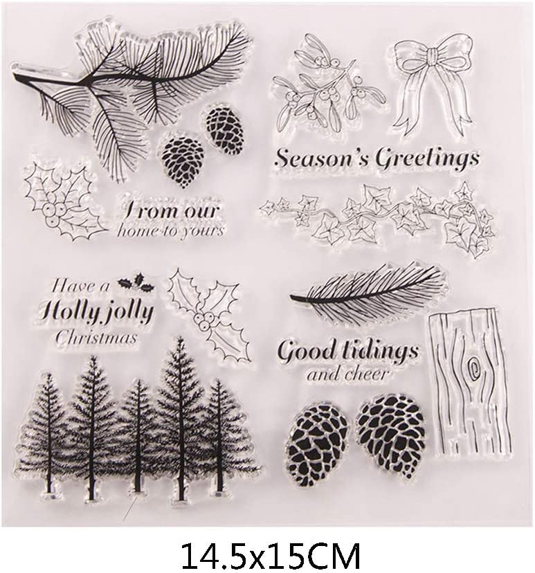 BASSK Arbre Pinecone Silicone Clear Seal Stamp DIY Scrapbooking Gaufrage Album Photo