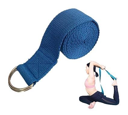 Cinturón de Yoga de 6 pies, Ejercicio Duradero de algodón, cinturón de Estiramiento con Hebilla de Metal Ajustable con Anillo en D para Entrenamiento ...