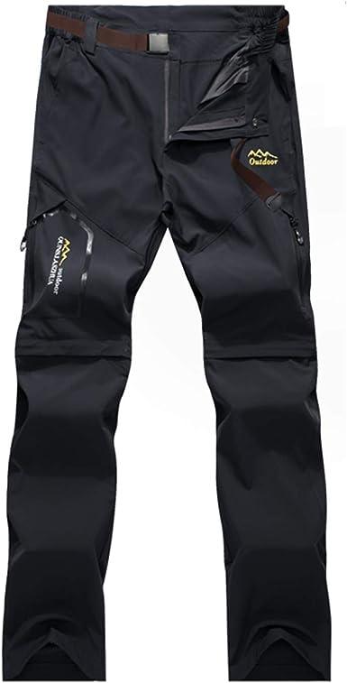 BWBIKE Pantalones De Senderismo para Hombres Pantalones para Caminar De Secado Rápido Pantalones Convertibles para Exteriores con Cinturón para ...