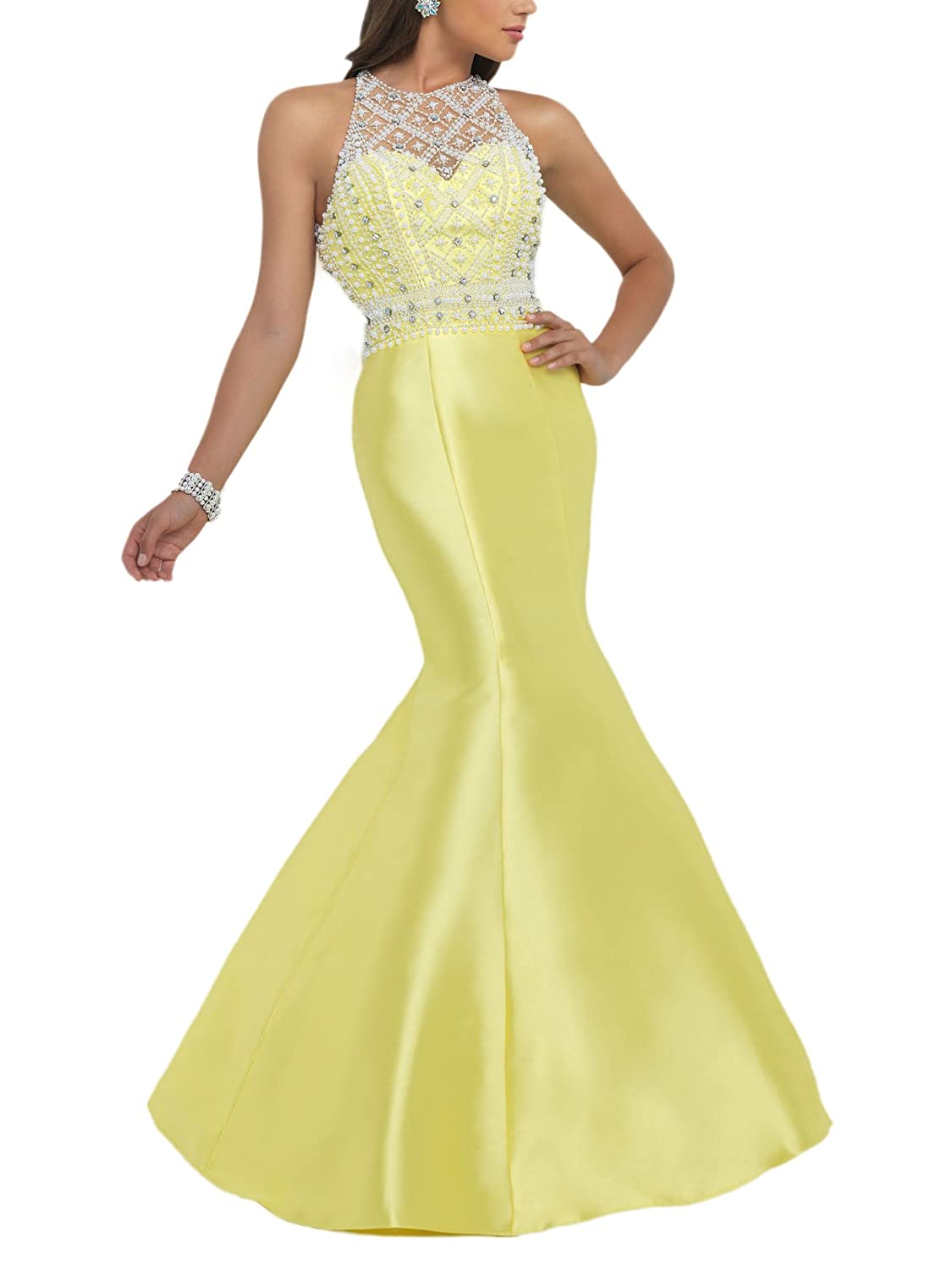 Bridal_Mall Women's Jewel Neck Beaded with Stain Mermaid Evening Dresses