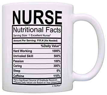 01582896 Nurse Gifts Nurse Nutritional Facts Label Nursing Gag Gift Gift Coffee Mug  Tea Cup White