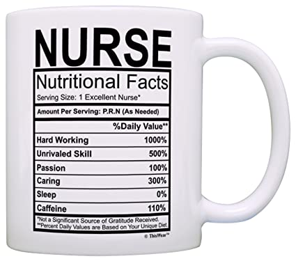 Amazon Nurse Gifts Nutritional Facts Label Nursing Gag Gift Coffee Mug Tea Cup White Kitchen Dining