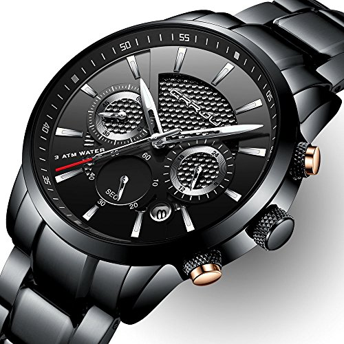 CRRJU Brand Men's Business Casual Chronograph Quartz Waterproof Wristwatch Black Stainless Steel Strap by CRRJU