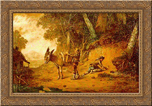 Wooded Landscape with Pack Mule 24x18 Gold Ornate Wood Framed Canvas Art by William Williams ()