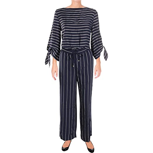 d4e99b5304f7 Lauren Ralph Lauren Women s Striped Satin Jumpsuit Navy Mascarpone Cream 2