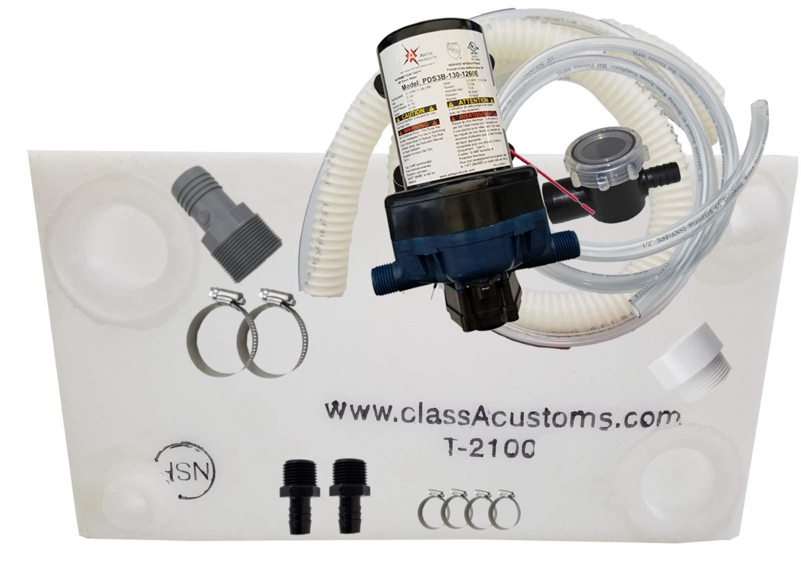 Class A Customs 21 Gallon Water Tank & Plumbing Kit & WFCO 12 Volt Pump T-2100-BPK-12WFCO by Class A Customs