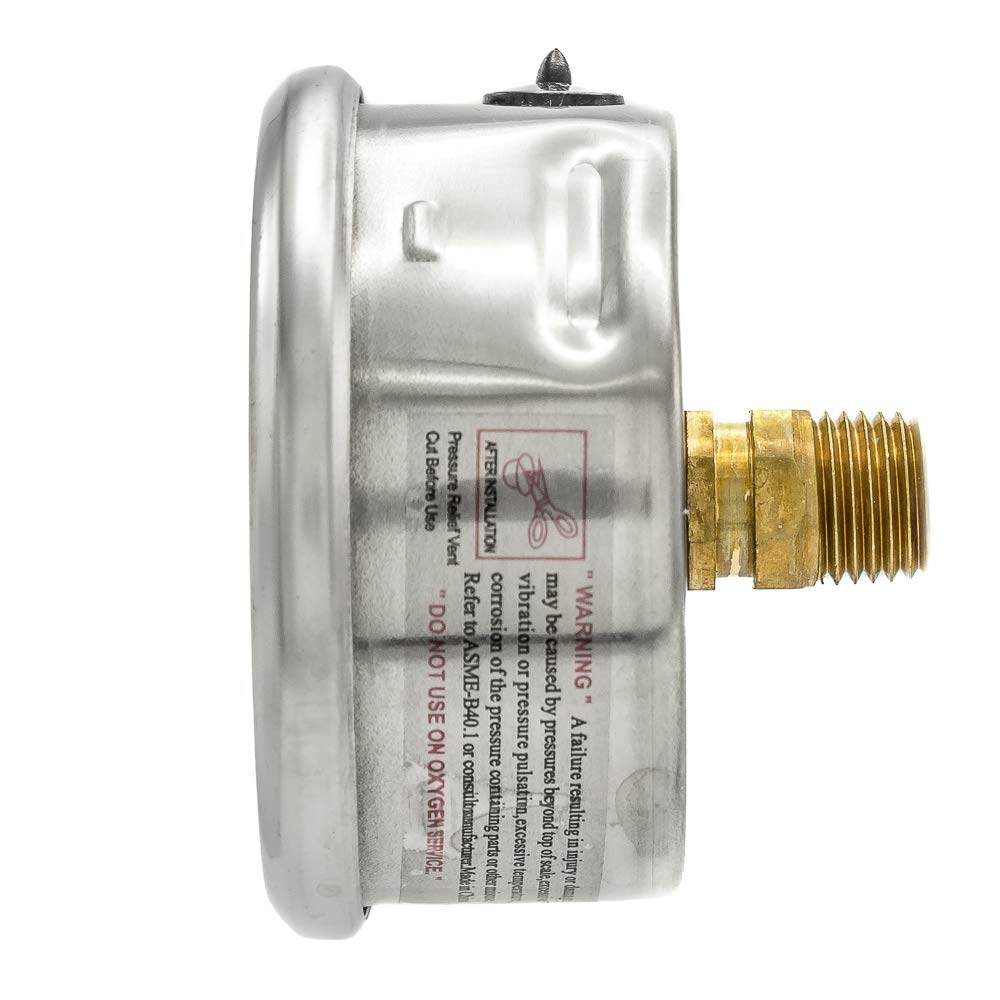 Brass Internals Plastic Lens 1//4 Male NPT 2-1//2 Dial Size PIC Gauge PRO-202L-254M Glycerin Filled Industrial Center Back Mount Pressure Gauge with Stainless Steel Case 0//1000 psi