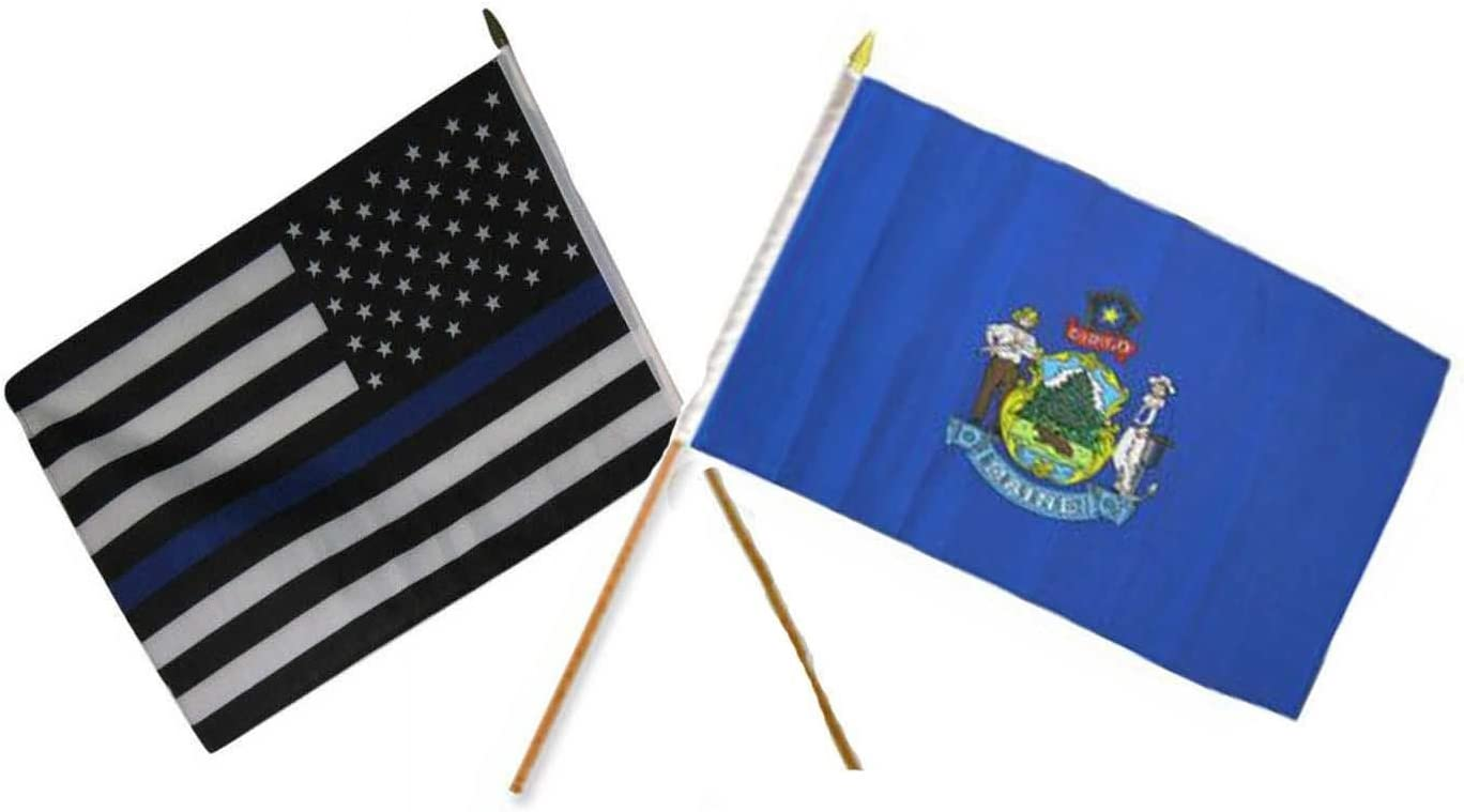 """12x18 12/""""x18/"""" Wholesale Lot of 3 State of Maine Stick Flag wood Staff"""