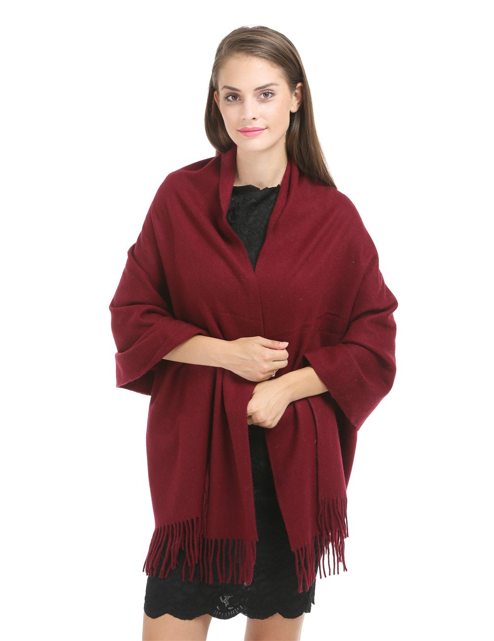 Cashmere Wrap Shawl Stole for Women Winter Extra Large(79'' X 28'') Men Luxurious Solid Lambswool Pashmina Scarf with Gift Box (6.burgundy)