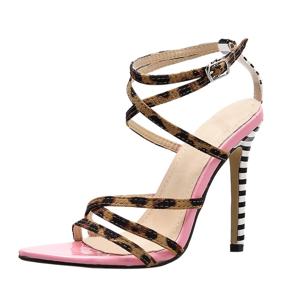 LOVOZO Womens Open Toe Stiletto High Heel Leopard Cross Strappy Ankle Strap Sandals for Party Shoes