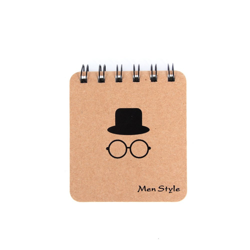 ASKCUT Small Notebook Paper Writing Notebook Hardcover Classic Journal Portable Spiral NoteBooks School Office Study Gifts (brown 4)