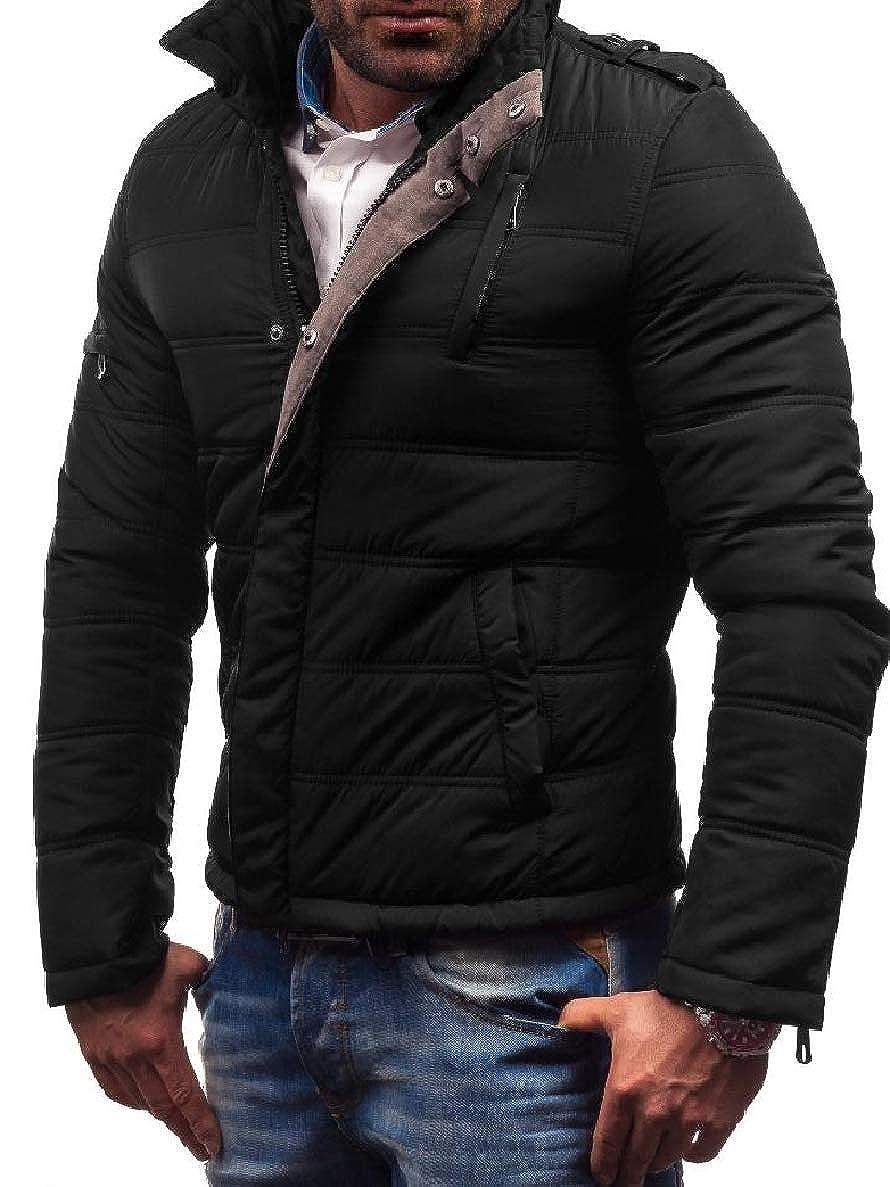 Winwinus Men Zipper Cotton Stand Collar Thicken Comfort Parka Jacket