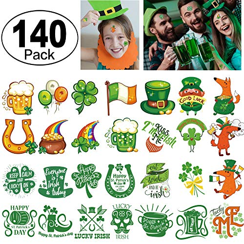 St. Patrick's Day Tattoos 140pcs Temporary Shamrock Tattoos 28 Designs for St. Paddy's day Parade Party Favors ()