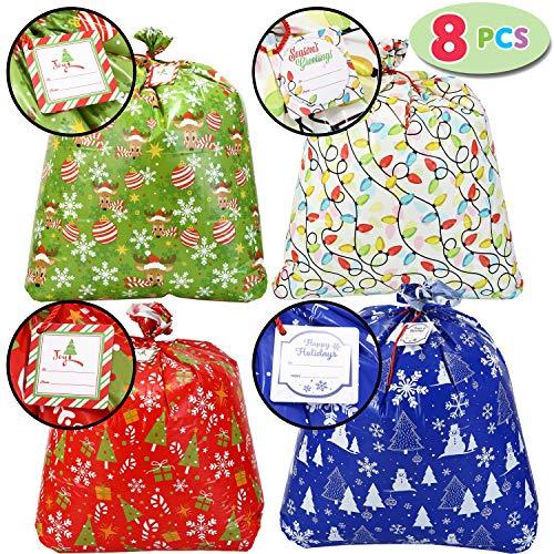Large Christmas Bags (8 PCs Christmas Jumbo Big Holiday Gift Bags Heavy Duty 36