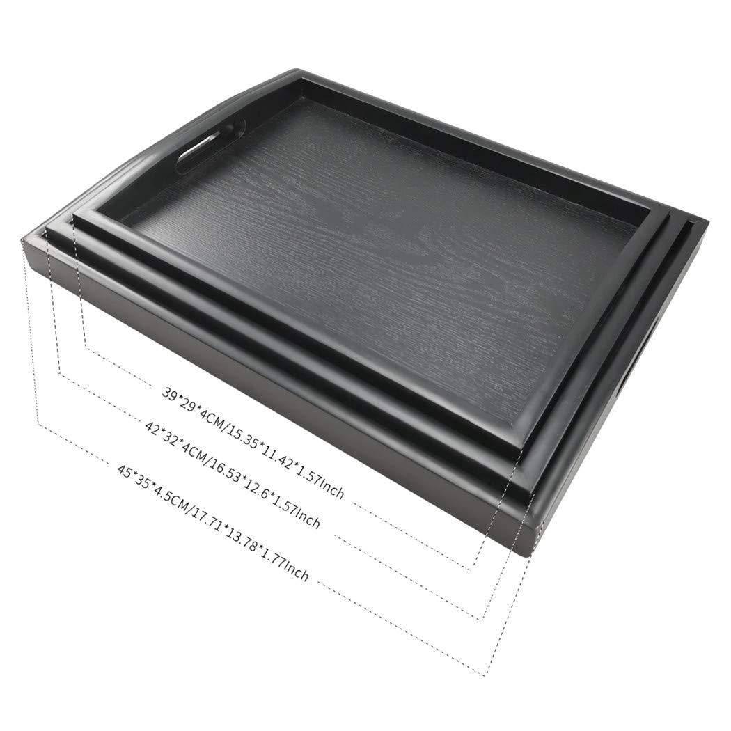 Small Dillman bandeja para servir grande rectangular de madera negro bandeja de alimentos Butler bandeja desayuno bandeja con asas negro