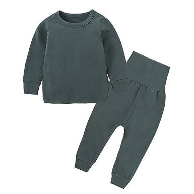 c3a999616350 Amazon.com  2pcs Set 3M-8T Kids Boys Girls Cotton Long Thermal ...