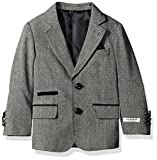 Isaac Mizrahi Big Boys' Tweed Blazer With Suede Contrast, Gray, 10