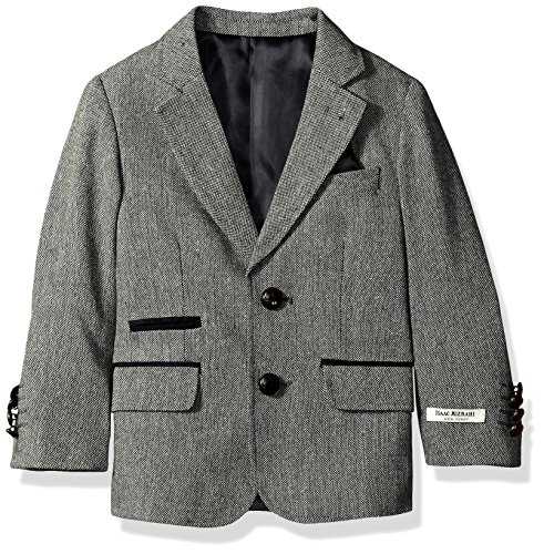 Isaac Mizrahi Big Boys' Tweed Blazer With Suede Contrast, Gray, 14 by Isaac Mizrahi