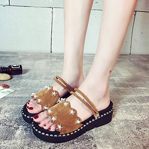 Women's Beige nbsp; 40 nbsp; Bow nbsp;Summer 19 One nbsp;Flat Slippers A New Cool Shoes Women's Wild Sandals Students ITTXTTI Sandals Size nbsp; nbsp; Korean Small Wearing qHYRYt
