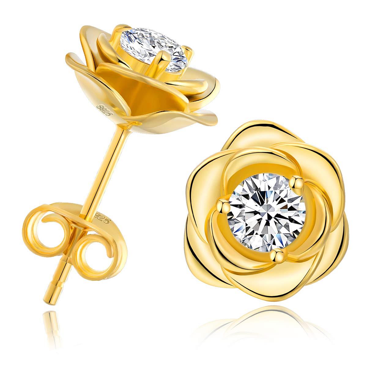 Rose Flower Stud Earrings - 18k Gold Plated 925 Sterling Silver Pure Brilliance CZ Stud Earrings, Hypoallergenic & Nickel Free & Fake Diamond Earrings for Women