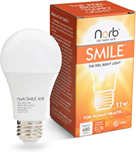 "NorbSMILE Advanced Full Spectrum A19 LED Light Bulb, Natural Sunlike Spectrum, Supplements SAD Light, Supports Circadian Rhythm, Mood Energy Performance.""Feel Right Light"""