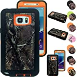 Kecko® Heavy Duty Defender Series Natural Tree Camo Shockproof Impact Resistant Hybrid Rugged Builders Workman Body Protective Case Skin w/ Built-in Screen Protector for Samsung Galaxy Note 5 (T-Ora)