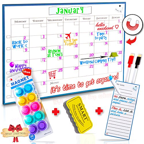 Monday To Sunday Dry Erase Magnetic Calendar Whiteboard   1612  Monthly Refrigerator Calendar Board   Includes Magnetic My Lists Pad  Erasable Markers   Eraser  Bonus Magnetic Pins By Curiosity