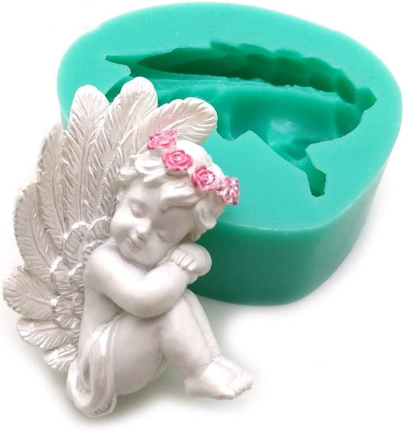 Silicone 3D Angel Cupid Fondant Cake Mold  Baking Decor Soap Molds Mould HS