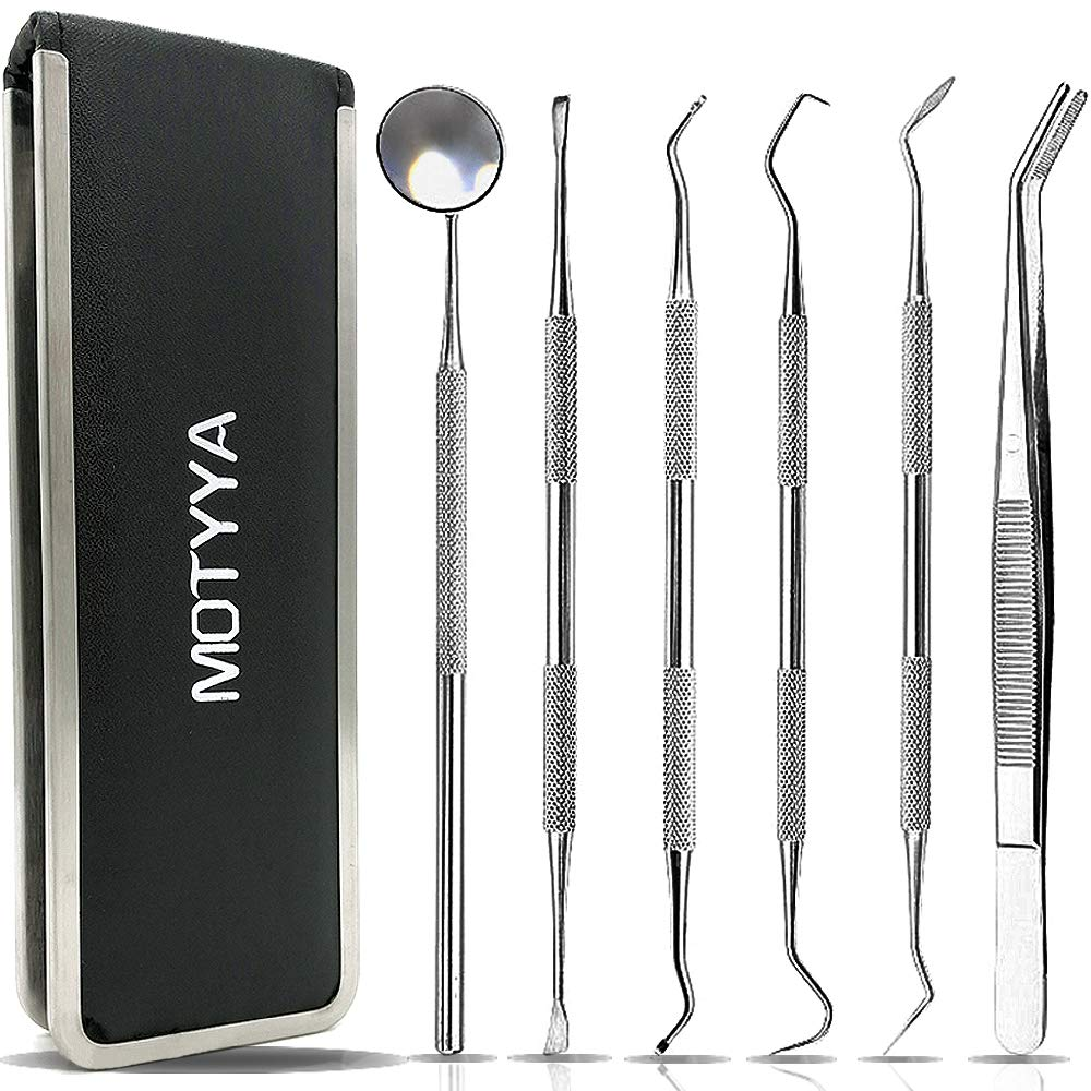 MOTYYA Dental Cleaning Tools Kit for Home Use(6 Tools), professional teeth tool set stainless steel Mouth Mirror Tweezers Dental Picks Oral Care set (6 Tools)