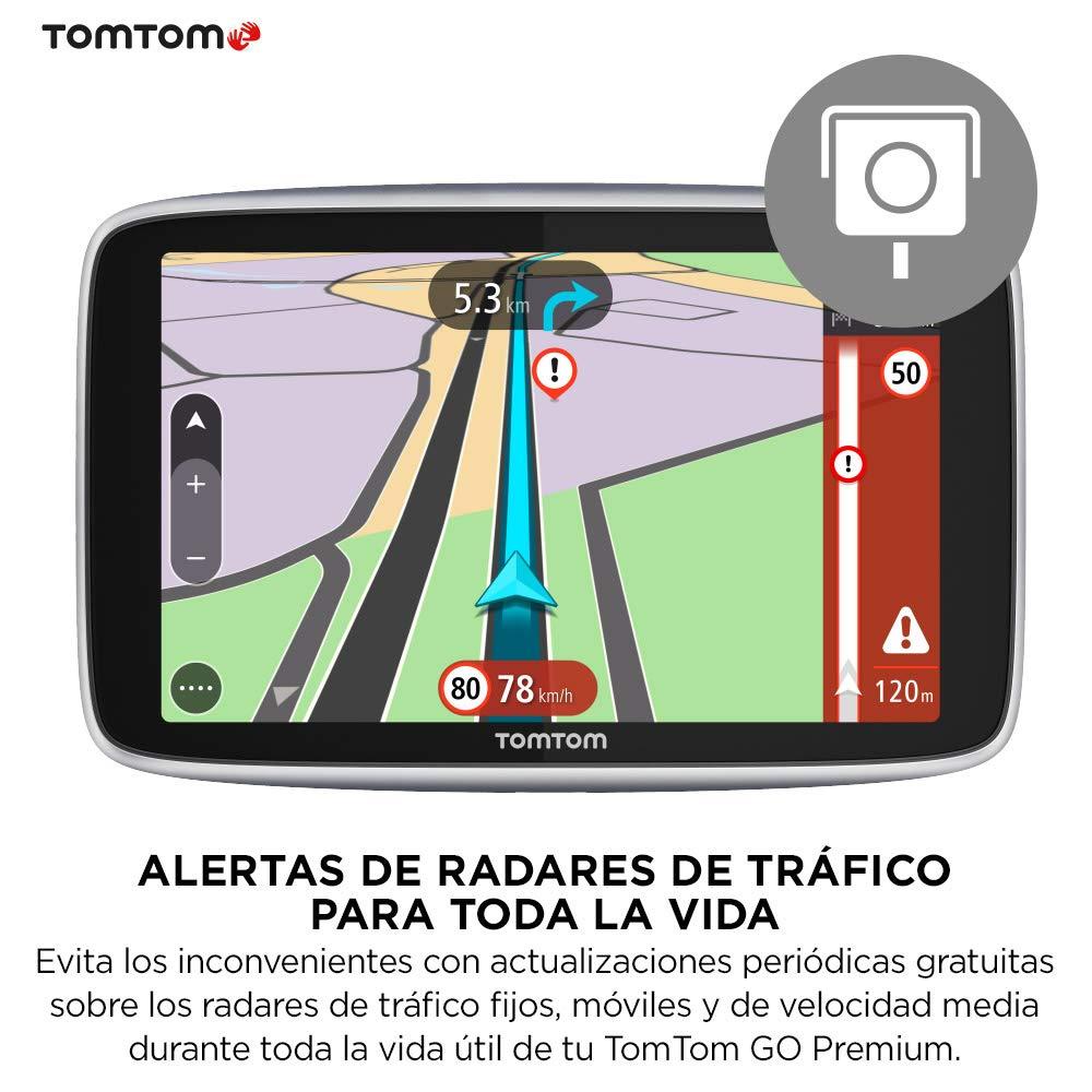 TomTom Go Premium - Navegador Gps 5Ž con Actualizaciones via Wifi,Trafico y Radares para Toda la Vida Mediante Tarjeta Sim Incluida, Mapas del Mundo, ...