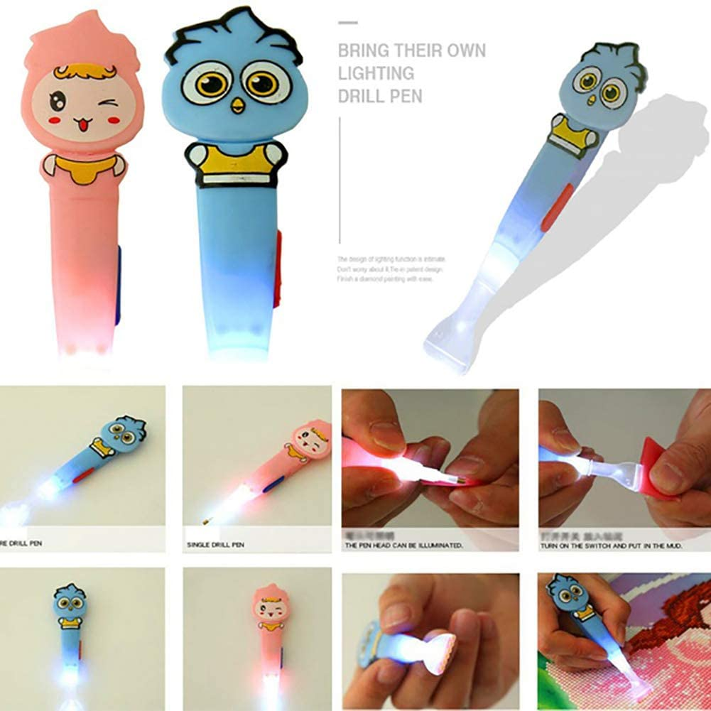 BrawljRORty Cartoon LED Light Sticky Pen for DIY 5D Diamond Embroidery Painting Cross Stitch for Home Wall Decor Gift 15#